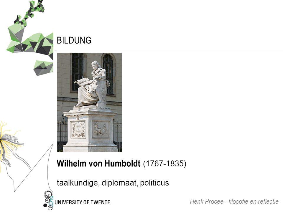 BILDUNG Wilhelm von Humboldt (1767-1835) taalkundige, diplomaat, politicus Henk Procee - filosofie en reflectie