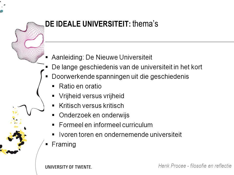 DE IDEALE UNIVERSITEIT: thema's  Aanleiding: De Nieuwe Universiteit  De lange geschiedenis van de universiteit in het kort  Doorwerkende spanningen