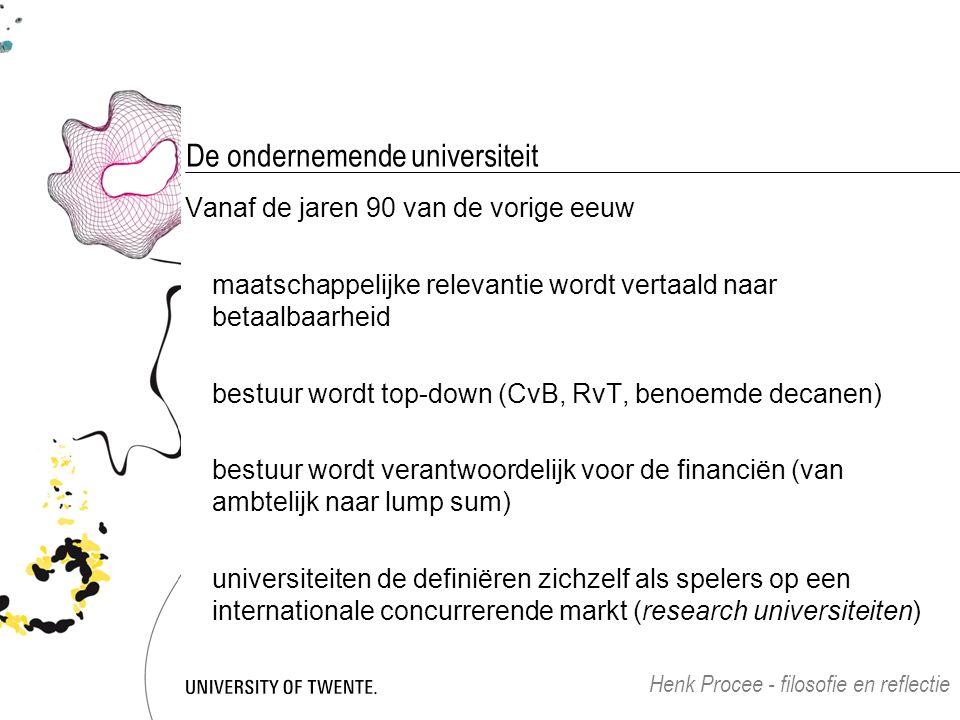 De ondernemende universiteit Vanaf de jaren 90 van de vorige eeuw maatschappelijke relevantie wordt vertaald naar betaalbaarheid bestuur wordt top-dow