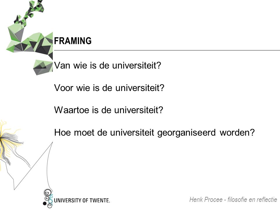 FRAMING Van wie is de universiteit. Voor wie is de universiteit.