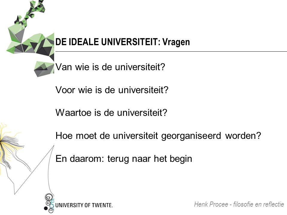 DE IDEALE UNIVERSITEIT: Vragen Van wie is de universiteit? Voor wie is de universiteit? Waartoe is de universiteit? Hoe moet de universiteit georganis