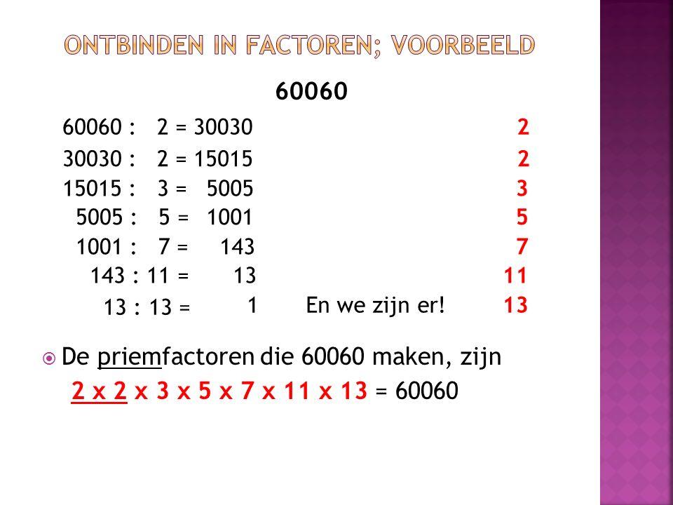 60060  De priemfactoren die 60060 maken, zijn 2 x 2 x 3 x 5 x 7 x 11 x 13 = 60060 60060 : 2 = 300302 15015230030 : 2 = 15015 : 3 = 50053 5005 : 5 = 1