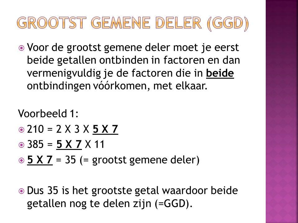  Voor de grootst gemene deler moet je eerst beide getallen ontbinden in factoren en dan vermenigvuldig je de factoren die in beide ontbindingen vóórk