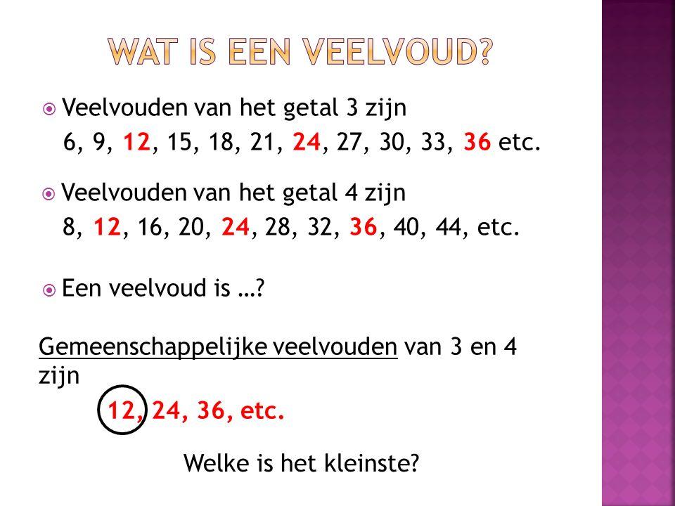  Veelvouden van het getal 4 zijn 8, 12, 16, 20, 24, 28, 32, 36, 40, 44, etc.  Veelvouden van het getal 3 zijn 6, 9, 12, 15, 18, 21, 24, 27, 30, 33,