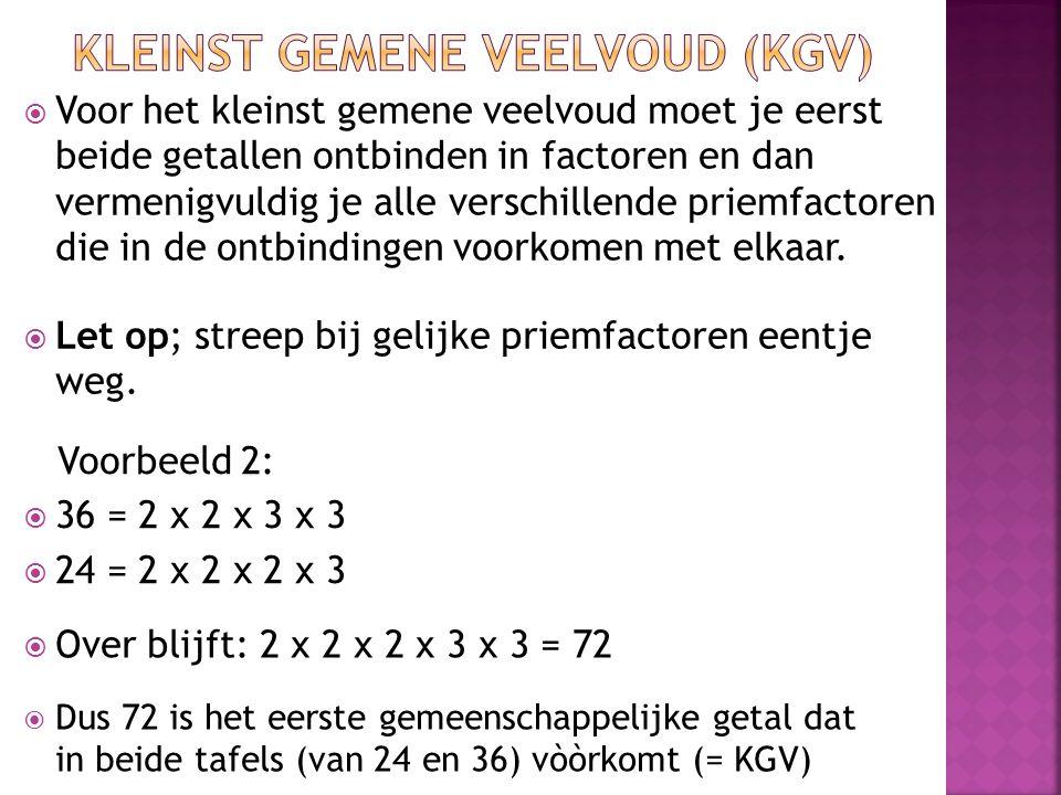  Voor het kleinst gemene veelvoud moet je eerst beide getallen ontbinden in factoren en dan vermenigvuldig je alle verschillende priemfactoren die in