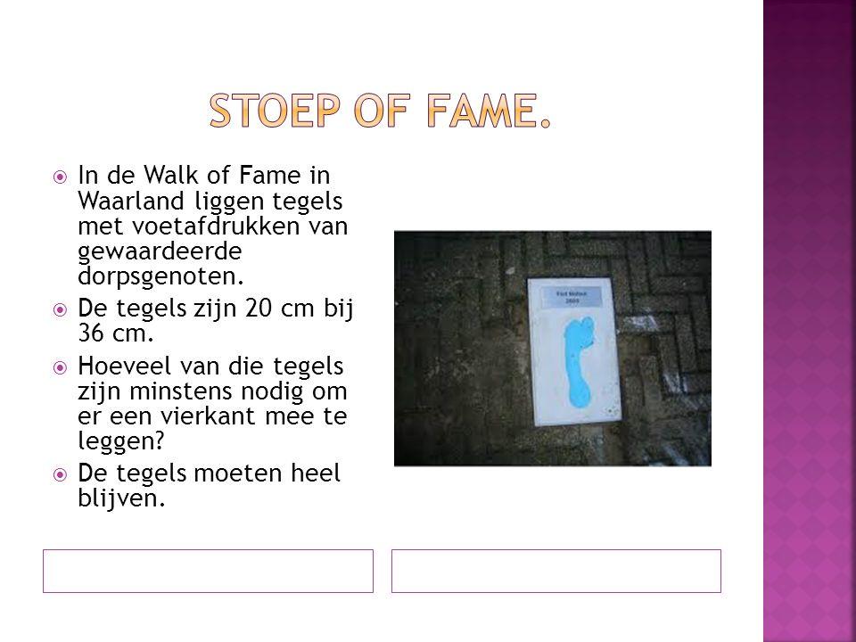  In de Walk of Fame in Waarland liggen tegels met voetafdrukken van gewaardeerde dorpsgenoten.  De tegels zijn 20 cm bij 36 cm.  Hoeveel van die te
