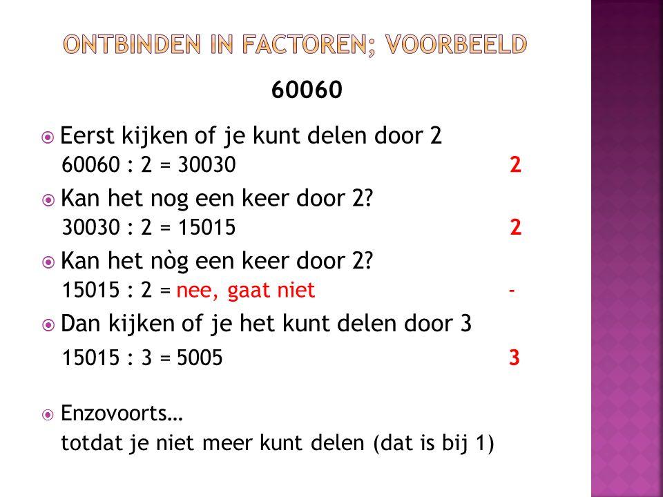 60060  De priemfactoren die 60060 maken, zijn 2 x 2 x 3 x 5 x 7 x 11 x 13 = 60060 60060 : 2 = 300302 15015230030 : 2 = 15015 : 3 = 50053 5005 : 5 = 1001 : 7 = 143 : 11 = 10015 1437 13 11 13 : 13 = 1 En we zijn er.