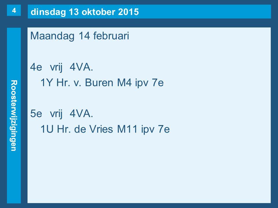 dinsdag 13 oktober 2015 Roosterwijzigingen Maandag 14 februari 4evrij4VA. 1Y Hr. v. Buren M4 ipv 7e 5evrij4VA. 1U Hr. de Vries M11 ipv 7e 4