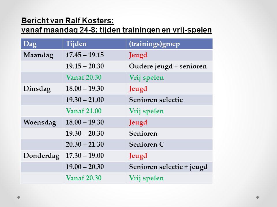 DagTijden(trainings)groep Maandag17.45 – 19.15Jeugd 19.15 – 20.30Oudere jeugd + senioren Vanaf 20.30Vrij spelen Dinsdag18.00 – 19.30Jeugd 19.30 – 21.00Senioren selectie Vanaf 21.00Vrij spelen Woensdag18.00 – 19.30Jeugd 19.30 – 20.30Senioren 20.30 – 21.30Senioren C Donderdag17.30 – 19.00Jeugd 19.00 – 20.30Senioren selectie + jeugd Vanaf 20.30Vrij spelen Bericht van Ralf Kosters: vanaf maandag 24-8: tijden trainingen en vrij-spelen