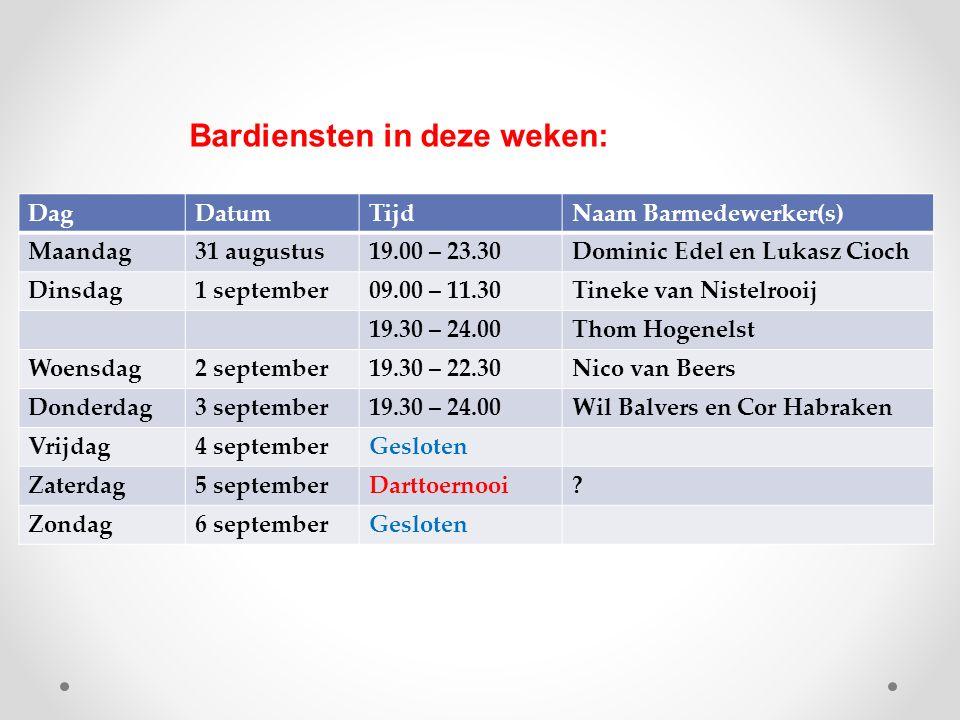 DagDatumTijdNaam Barmedewerker(s) Maandag31 augustus19.00 – 23.30Dominic Edel en Lukasz Cioch Dinsdag1 september09.00 – 11.30Tineke van Nistelrooij 19.30 – 24.00Thom Hogenelst Woensdag2 september19.30 – 22.30Nico van Beers Donderdag3 september19.30 – 24.00Wil Balvers en Cor Habraken Vrijdag4 septemberGesloten Zaterdag5 septemberDarttoernooi.