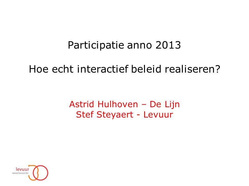 Participatie anno 2013 Hoe echt interactief beleid realiseren.
