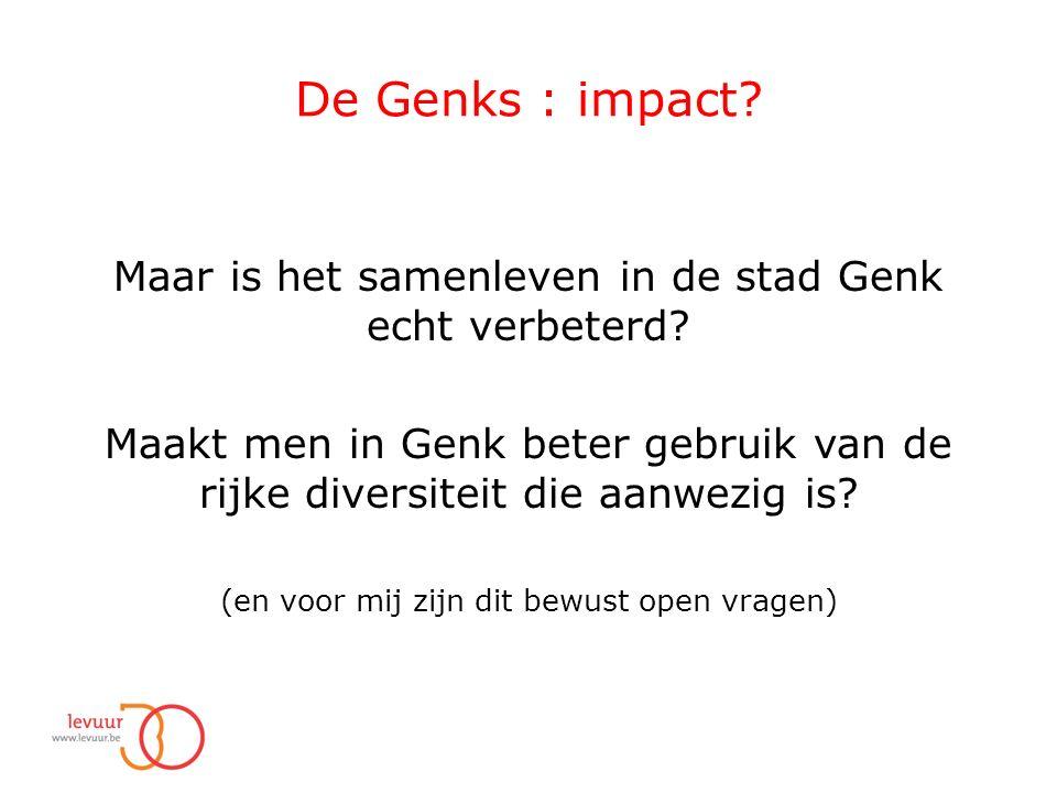 De Genks : impact. Maar is het samenleven in de stad Genk echt verbeterd.