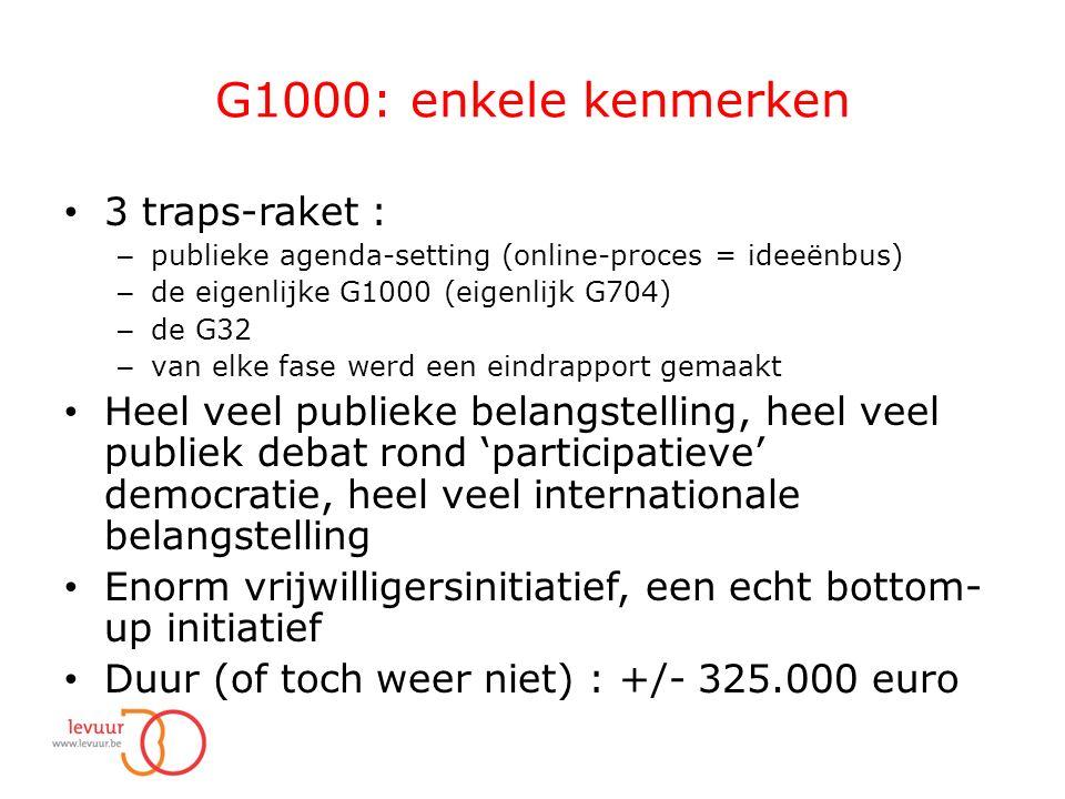 G1000: enkele kenmerken 3 traps-raket : – publieke agenda-setting (online-proces = ideeënbus) – de eigenlijke G1000 (eigenlijk G704) – de G32 – van elke fase werd een eindrapport gemaakt Heel veel publieke belangstelling, heel veel publiek debat rond 'participatieve' democratie, heel veel internationale belangstelling Enorm vrijwilligersinitiatief, een echt bottom- up initiatief Duur (of toch weer niet) : +/- 325.000 euro