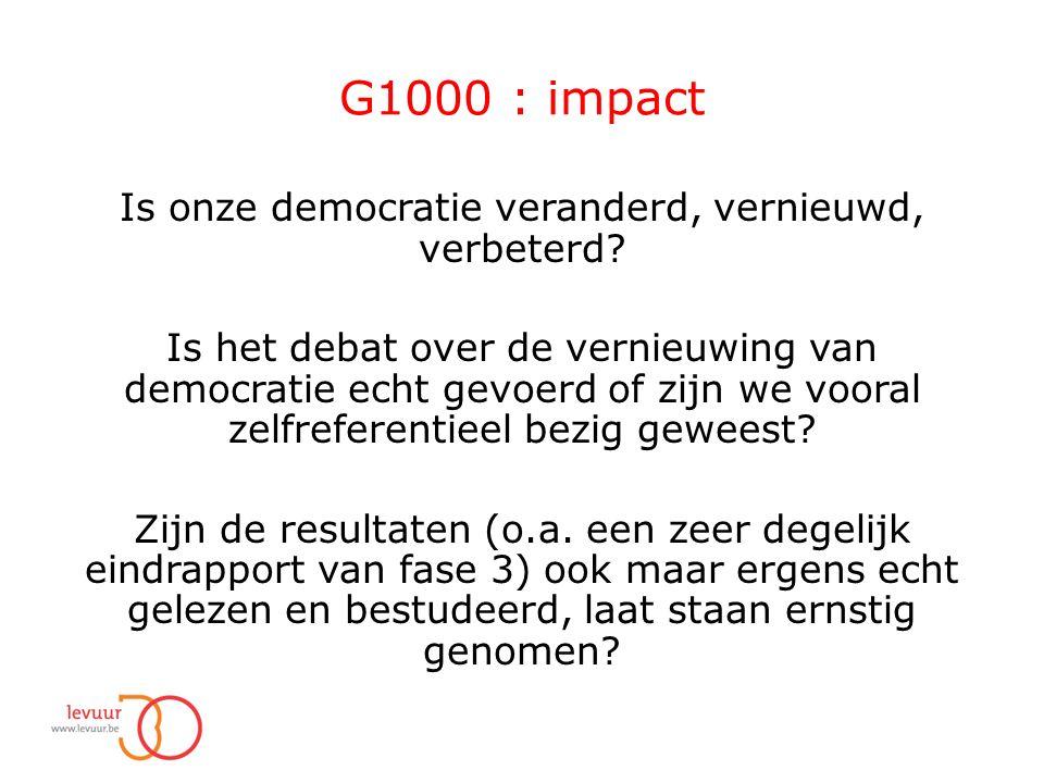 G1000 : impact Is onze democratie veranderd, vernieuwd, verbeterd.