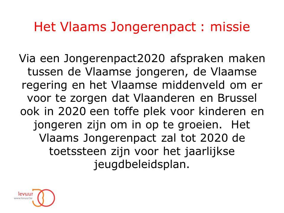 Het Vlaams Jongerenpact : missie Via een Jongerenpact2020 afspraken maken tussen de Vlaamse jongeren, de Vlaamse regering en het Vlaamse middenveld om er voor te zorgen dat Vlaanderen en Brussel ook in 2020 een toffe plek voor kinderen en jongeren zijn om in op te groeien.
