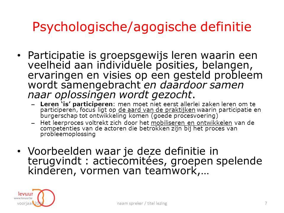 Psychologische/agogische definitie Participatie is groepsgewijs leren waarin een veelheid aan individuele posities, belangen, ervaringen en visies op een gesteld probleem wordt samengebracht en daardoor samen naar oplossingen wordt gezocht.