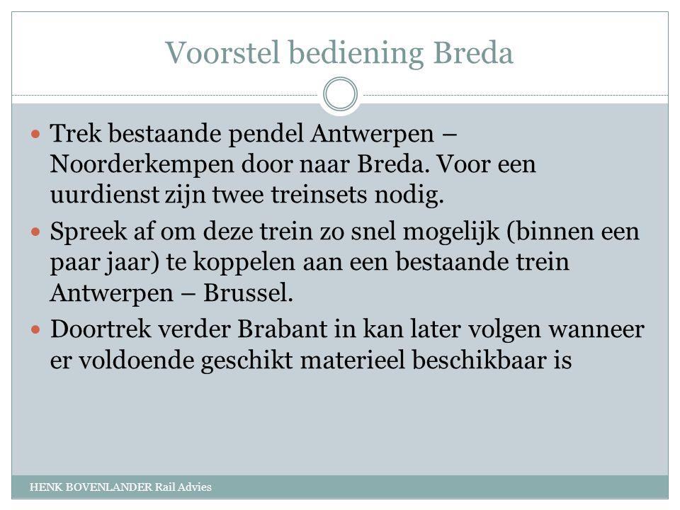 Voorstel bediening Breda HENK BOVENLANDER Rail Advies Trek bestaande pendel Antwerpen – Noorderkempen door naar Breda.