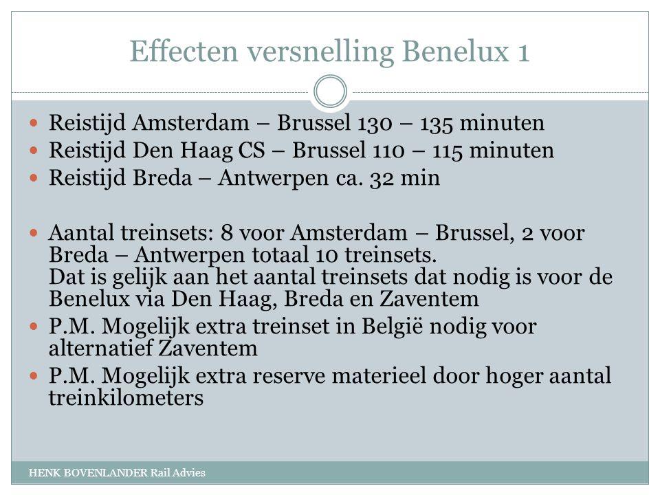 Effecten versnelling Benelux 1 HENK BOVENLANDER Rail Advies Reistijd Amsterdam – Brussel 130 – 135 minuten Reistijd Den Haag CS – Brussel 110 – 115 minuten Reistijd Breda – Antwerpen ca.