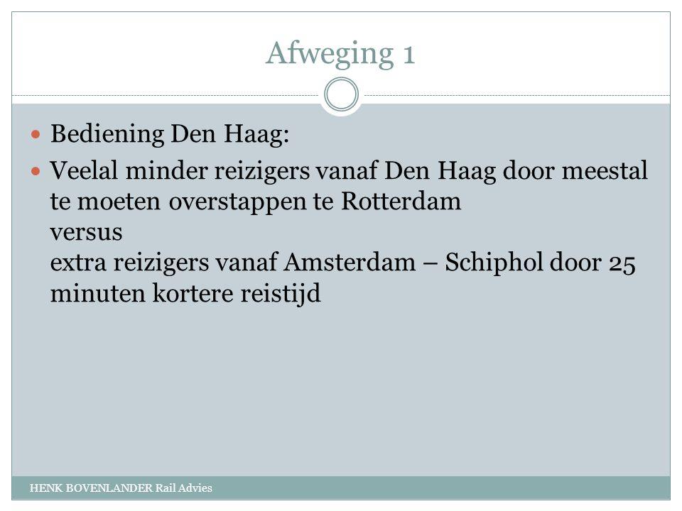 Afweging 1 HENK BOVENLANDER Rail Advies Bediening Den Haag: Veelal minder reizigers vanaf Den Haag door meestal te moeten overstappen te Rotterdam versus extra reizigers vanaf Amsterdam – Schiphol door 25 minuten kortere reistijd