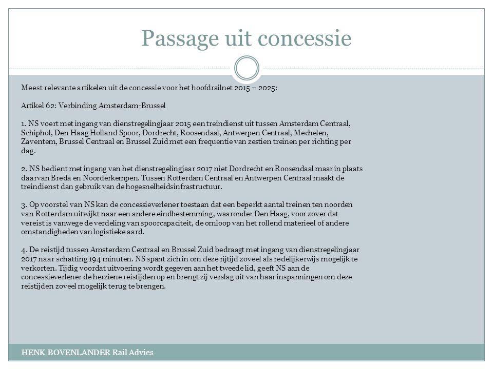 Passage uit concessie HENK BOVENLANDER Rail Advies Meest relevante artikelen uit de concessie voor het hoofdrailnet 2015 – 2025: Artikel 62: Verbinding Amsterdam-Brussel 1.