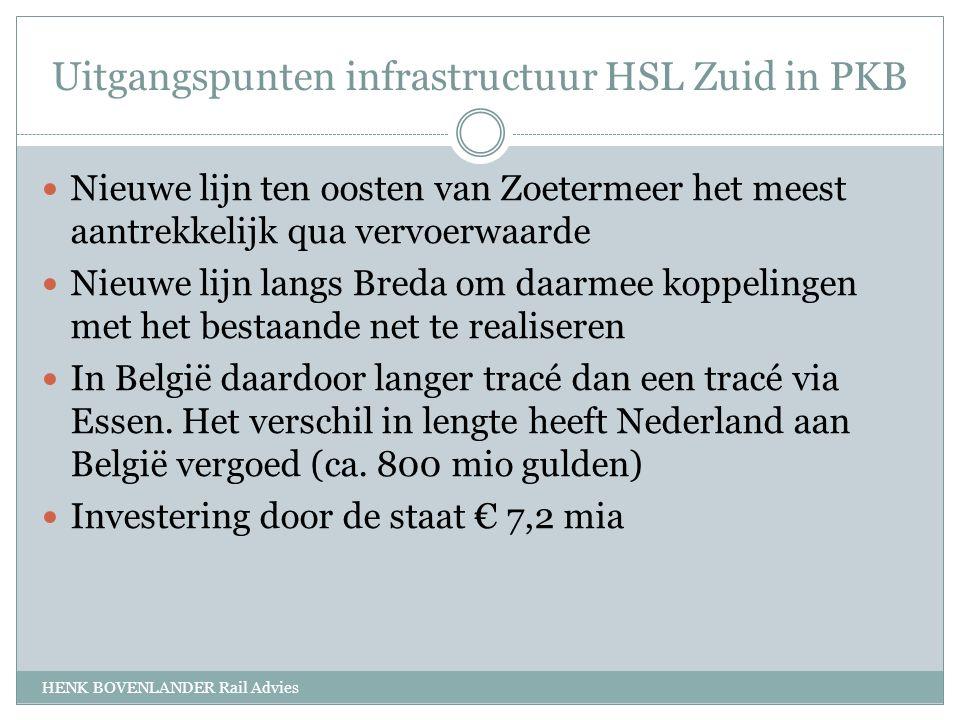 Uitgangspunten infrastructuur HSL Zuid in PKB HENK BOVENLANDER Rail Advies Nieuwe lijn ten oosten van Zoetermeer het meest aantrekkelijk qua vervoerwaarde Nieuwe lijn langs Breda om daarmee koppelingen met het bestaande net te realiseren In België daardoor langer tracé dan een tracé via Essen.