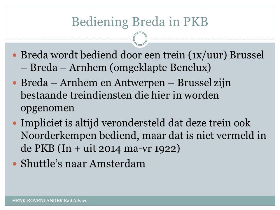 Bediening Breda in PKB HENK BOVENLANDER Rail Advies Breda wordt bediend door een trein (1x/uur) Brussel – Breda – Arnhem (omgeklapte Benelux) Breda – Arnhem en Antwerpen – Brussel zijn bestaande treindiensten die hier in worden opgenomen Impliciet is altijd verondersteld dat deze trein ook Noorderkempen bediend, maar dat is niet vermeld in de PKB (In + uit 2014 ma-vr 1922) Shuttle's naar Amsterdam