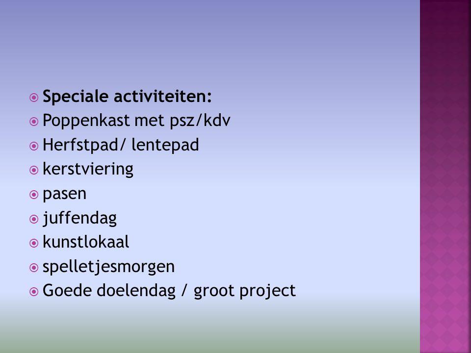  Speciale activiteiten:  Poppenkast met psz/kdv  Herfstpad/ lentepad  kerstviering  pasen  juffendag  kunstlokaal  spelletjesmorgen  Goede doelendag / groot project