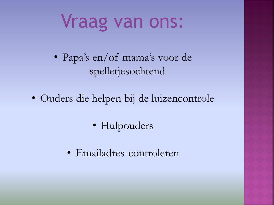 Papa's en/of mama's voor de spelletjesochtend Ouders die helpen bij de luizencontrole Hulpouders Emailadres-controleren