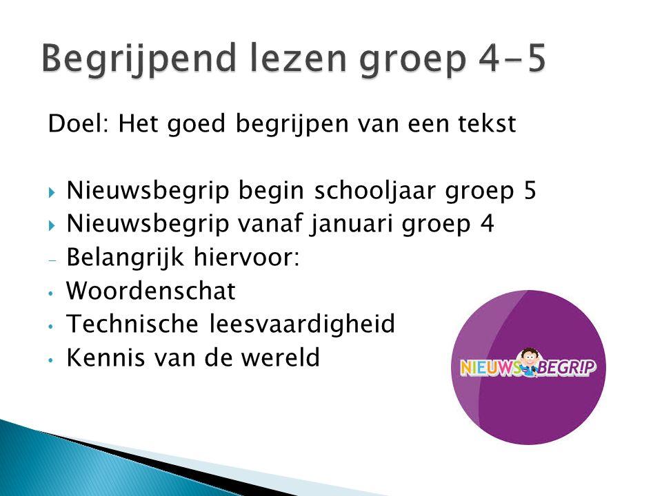 Doel: Het goed begrijpen van een tekst  Nieuwsbegrip begin schooljaar groep 5  Nieuwsbegrip vanaf januari groep 4 - Belangrijk hiervoor: Woordenscha