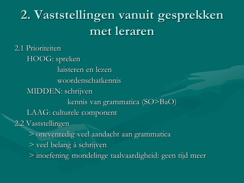2. Vaststellingen vanuit gesprekken met leraren 2.1 Prioriteiten HOOG: spreken HOOG: spreken luisteren en lezen luisteren en lezen woordenschatkennis