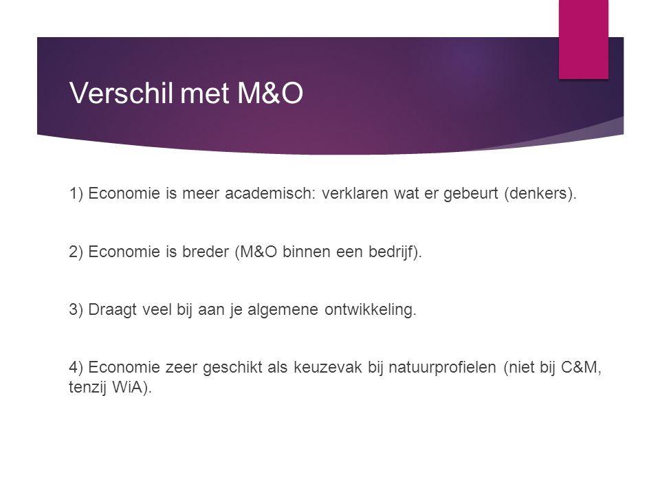 Verschil met M&O 1) Economie is meer academisch: verklaren wat er gebeurt (denkers). 2) Economie is breder (M&O binnen een bedrijf). 3) Draagt veel bi