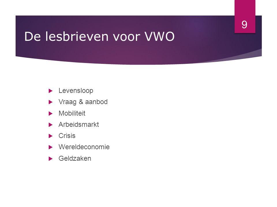 De lesbrieven voor VWO  Levensloop  Vraag & aanbod  Mobiliteit  Arbeidsmarkt  Crisis  Wereldeconomie  Geldzaken 9