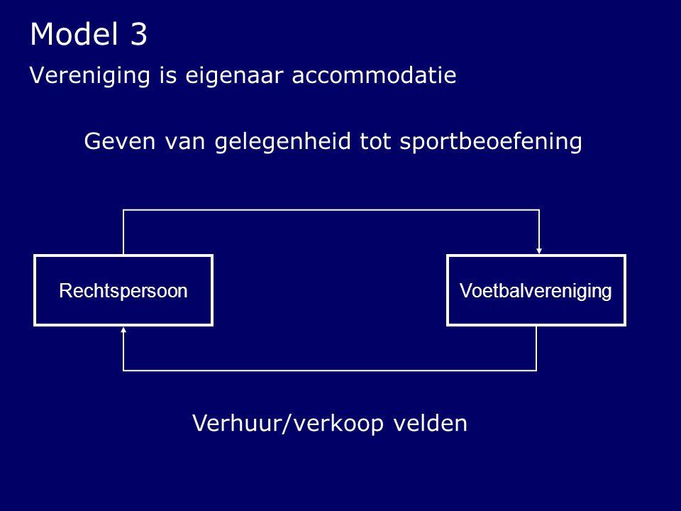 Vereniging is eigenaar accommodatie Geven van gelegenheid tot sportbeoefening Rechtspersoon Verhuur/verkoop velden Voetbalvereniging Model 3