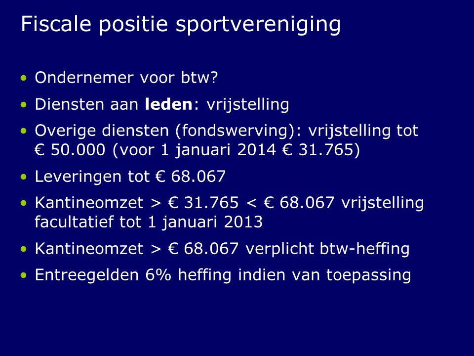 Fiscale positie sportvereniging Ondernemer voor btw? Diensten aan leden: vrijstelling Overige diensten (fondswerving): vrijstelling tot € 50.000 (voor