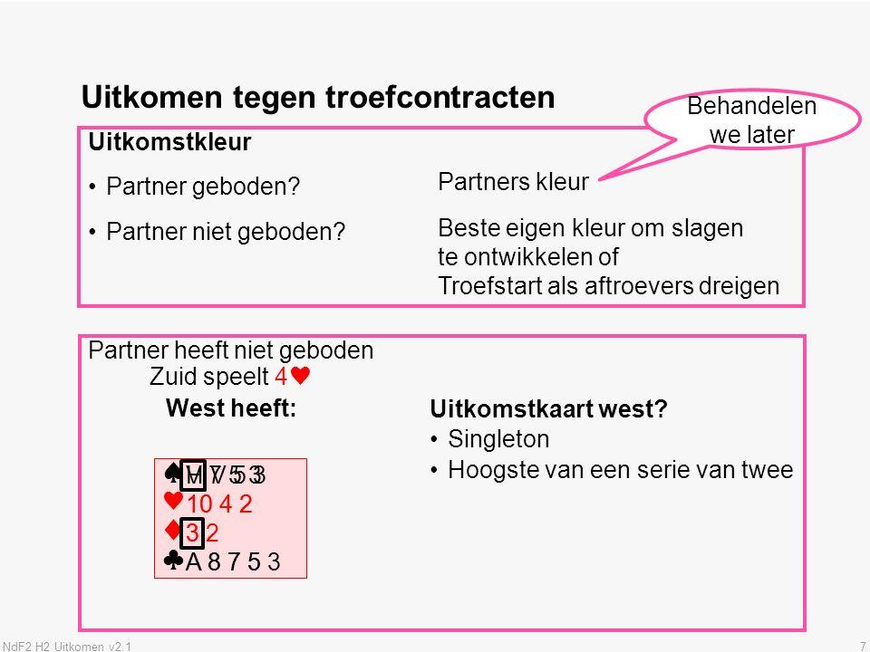NdF2 H2 Uitkomen v2.17 Uitkomen tegen troefcontracten Uitkomstkleur Partner geboden.