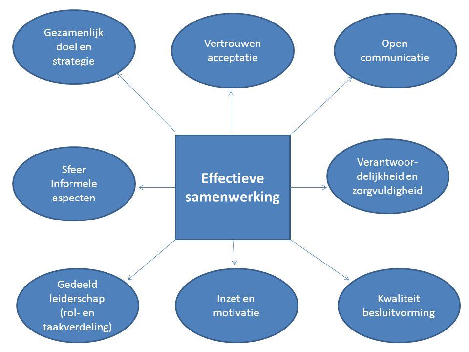 Gezamenlijk doel en strategie Vertrouwen acceptatie Sfeer Informele aspecten Verantwoor- delijkheid en zorgvuldigheid Gedeeld leiderschap (rol- en taa