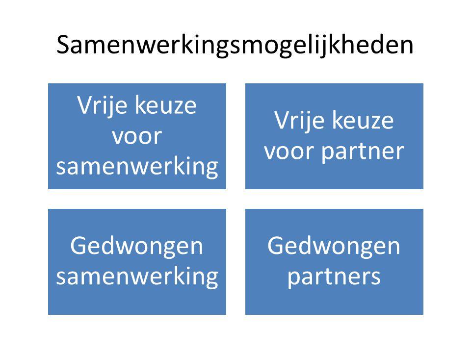 Samenwerkingsmogelijkheden Vrije keuze voor samenwerking Vrije keuze voor partner Gedwongen samenwerking Gedwongen partners