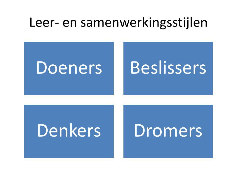 Leer- en samenwerkingsstijlen DoenersBeslissers DenkersDromers
