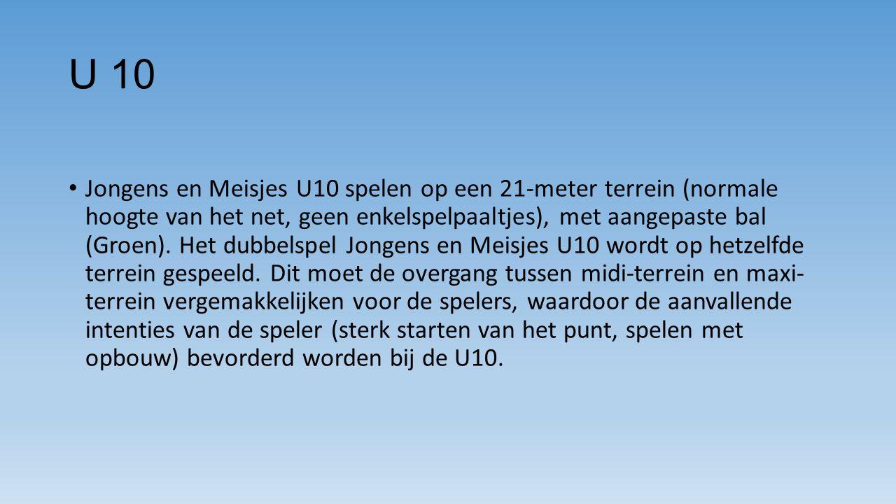 U 10 Jongens en Meisjes U10 spelen op een 21-meter terrein (normale hoogte van het net, geen enkelspelpaaltjes), met aangepaste bal (Groen).
