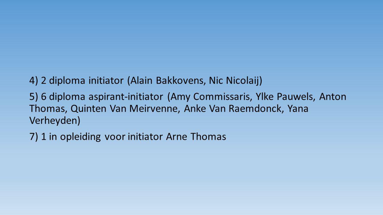 4) 2 diploma initiator (Alain Bakkovens, Nic Nicolaij) 5) 6 diploma aspirant-initiator (Amy Commissaris, Ylke Pauwels, Anton Thomas, Quinten Van Meirvenne, Anke Van Raemdonck, Yana Verheyden) 7) 1 in opleiding voor initiator Arne Thomas