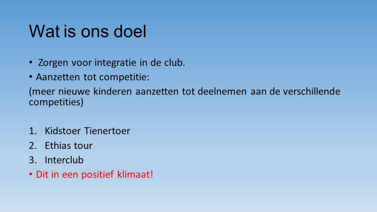 Wat is ons doel Zorgen voor integratie in de club.