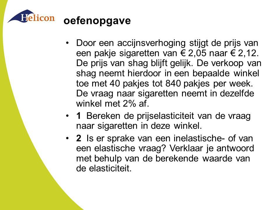 oefenopgave Door een accijnsverhoging stijgt de prijs van een pakje sigaretten van € 2,05 naar € 2,12. De prijs van shag blijft gelijk. De verkoop van