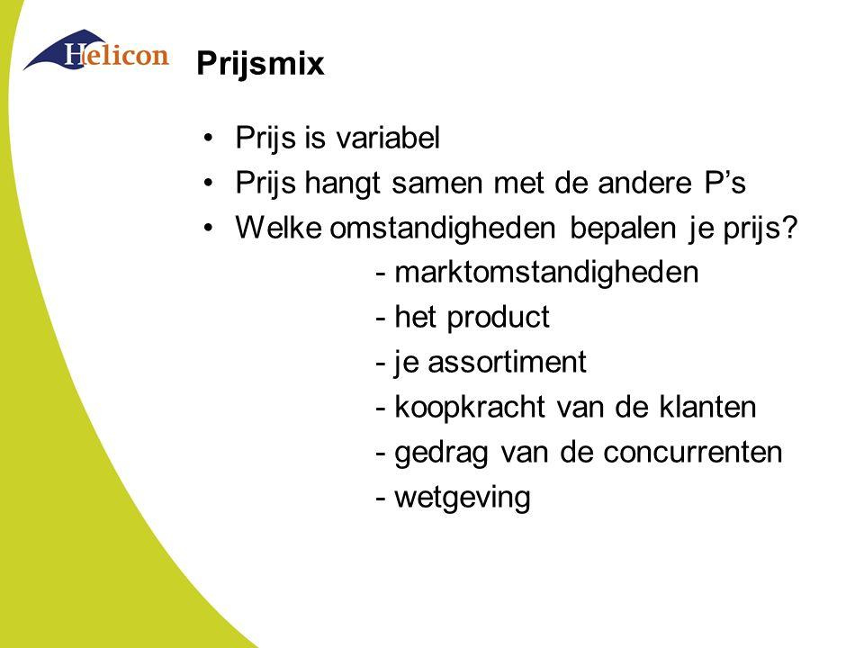 Prijsmix Bestaat uit beslissingen over: prijs en vraag prijs en kosten prijs en concurrentie Hieruit volgt prijsdoelstelling (b.v.