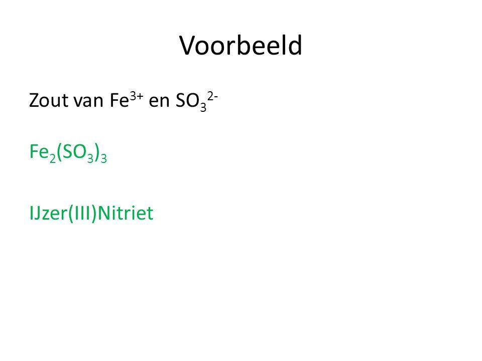 Voorbeeld Zout van Fe 3+ en SO 3 2- Fe 2 (SO 3 ) 3 IJzer(III)Nitriet