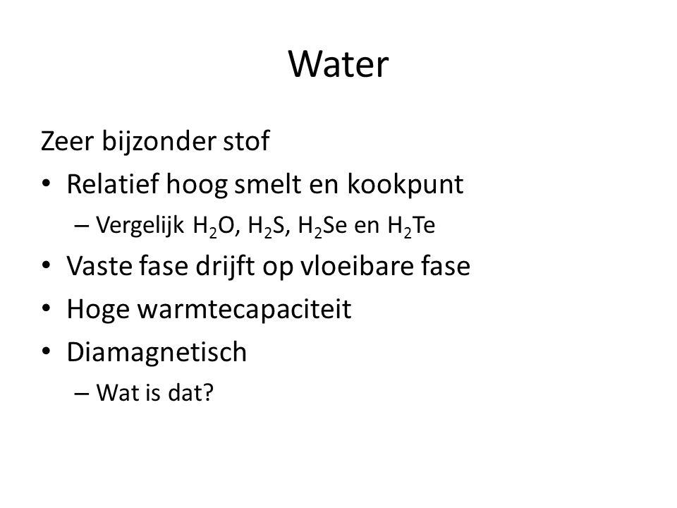 Water Zeer bijzonder stof Relatief hoog smelt en kookpunt – Vergelijk H 2 O, H 2 S, H 2 Se en H 2 Te Vaste fase drijft op vloeibare fase Hoge warmtecapaciteit Diamagnetisch – Wat is dat?