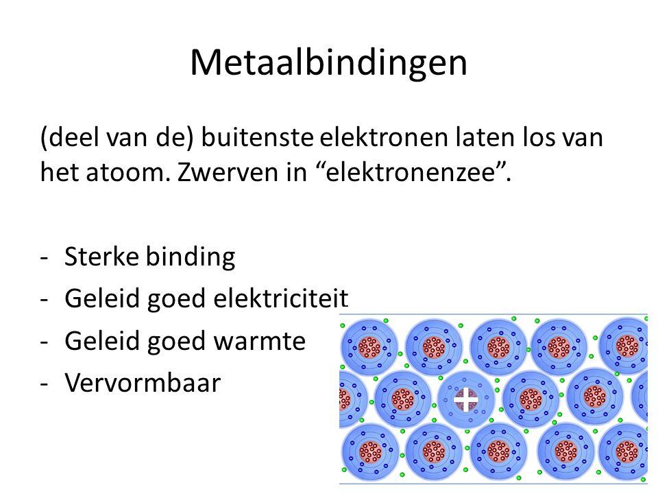 """Metaalbindingen (deel van de) buitenste elektronen laten los van het atoom. Zwerven in """"elektronenzee"""". -Sterke binding -Geleid goed elektriciteit -Ge"""