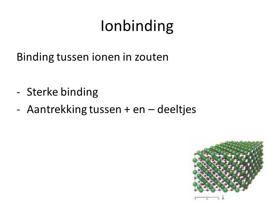 Ionbinding Binding tussen ionen in zouten -Sterke binding -Aantrekking tussen + en – deeltjes