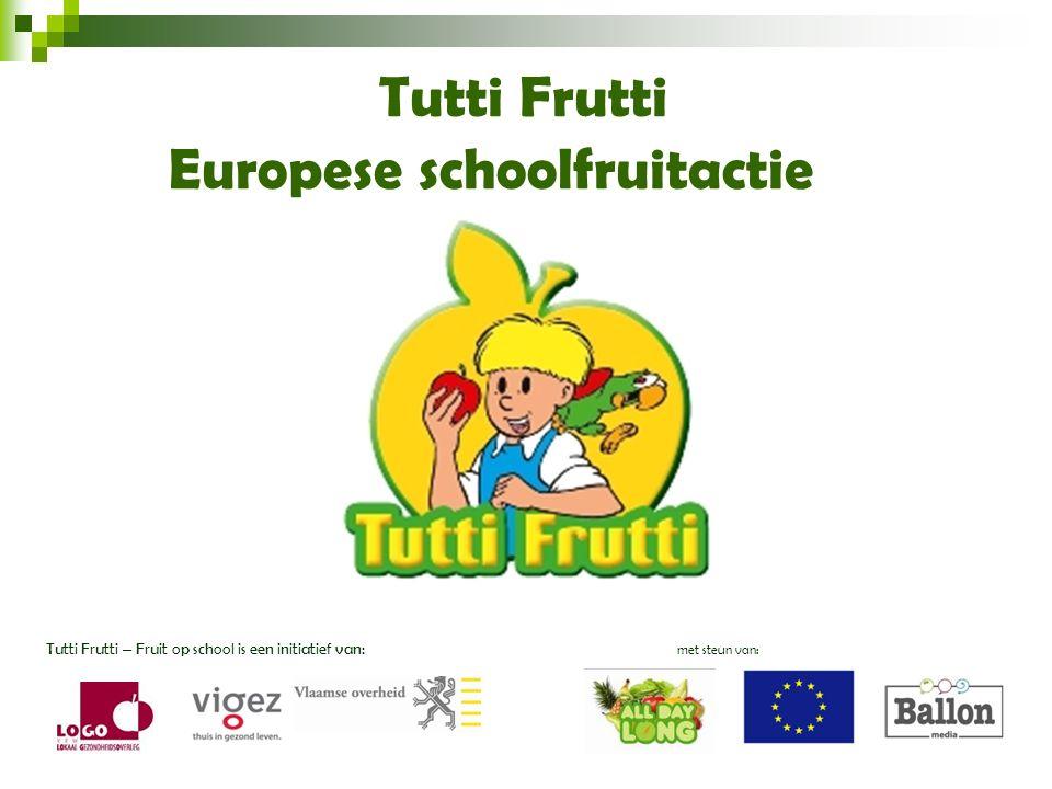 Het invoeren van een wekelijkse fruitdag Het samen eten van fruit of groente  meedoen aan Tutti Frutti Gezonde levensstijl, ook op school!