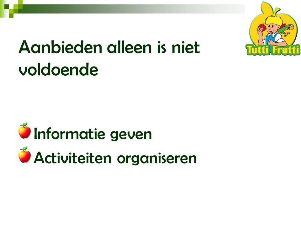 Aanbieden alleen is niet voldoende Informatie geven Activiteiten organiseren