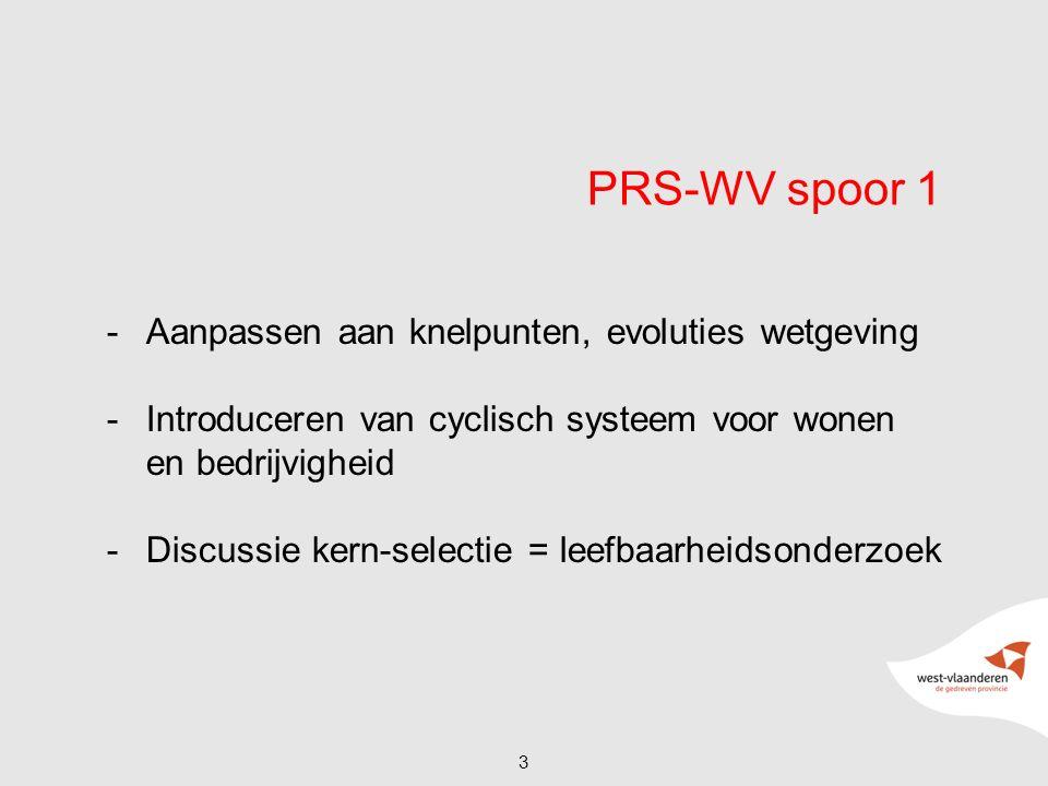 PRS-WV spoor 1 -Aanpassen aan knelpunten, evoluties wetgeving -Introduceren van cyclisch systeem voor wonen en bedrijvigheid -Discussie kern-selectie = leefbaarheidsonderzoek 3